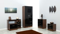 Marina black gloss & walnut 5 piece bedroom furniture set