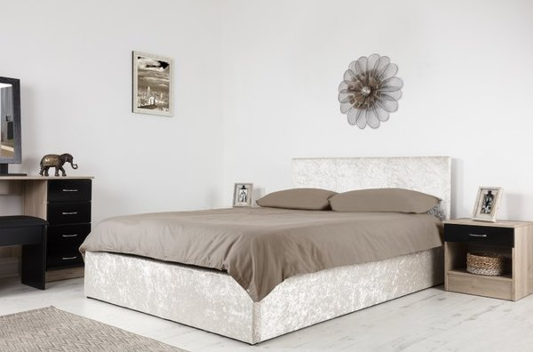 Boston champagne crushed velvet ottoman storage bed