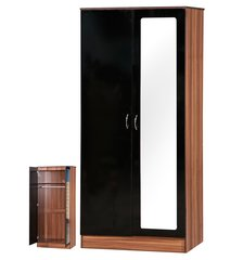 Alpha mirrored black gloss & walnut 2 door wardrobe