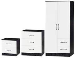 Marina white gloss & ash black 3 piece bedroom furniture set