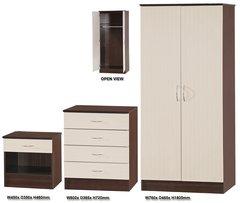 Alpha cream gloss & walnut 3 piece bedroom furniture set