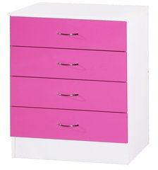 Alpha pink gloss & white chest of 4 drawers