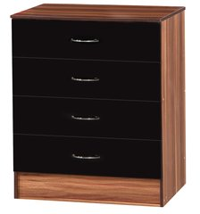 Alpha black gloss & walnut chest of 4 drawers