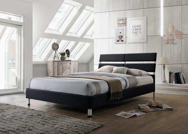 Eden black fabric bed
