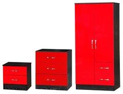 Marina red gloss & ash black 3 piece bedroom furniture set