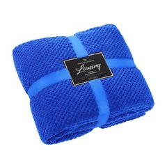 Popcorn plain electric blue fleece throw
