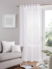 Bali voile white tab top curtain panel