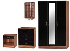 Alpha 3 door mirrored black gloss & walnut 3 piece bedroom furniture set