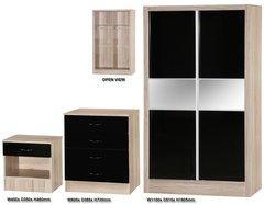 Alpha slider black gloss & san oak 3 piece bedroom furniture set