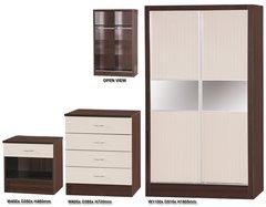 Alpha slider cream gloss & walnut 3 piece bedroom furniture set