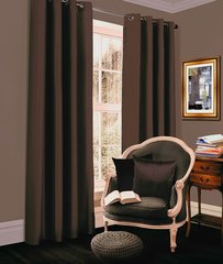 Thermal blackout chocolate eyelet curtains
