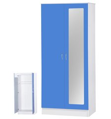 Alpha mirrored blue gloss & white 2 door wardrobe