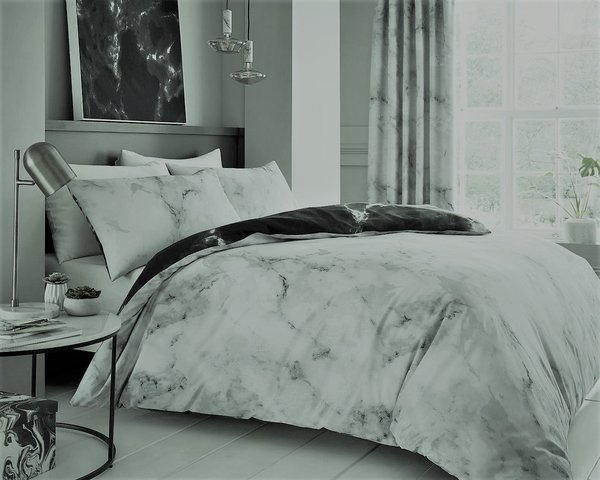 Marble grey duvet cover