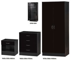 Alpha black gloss 3 piece bedroom furniture set