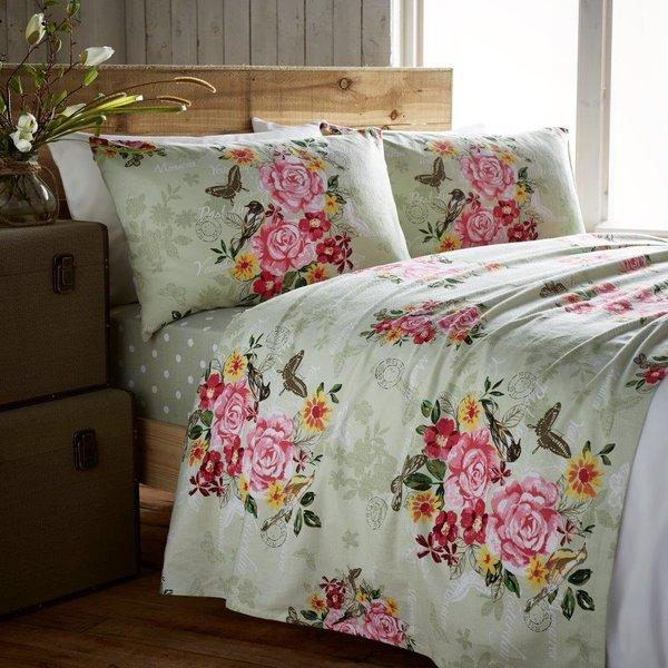Marmorino green flannelette sheet set