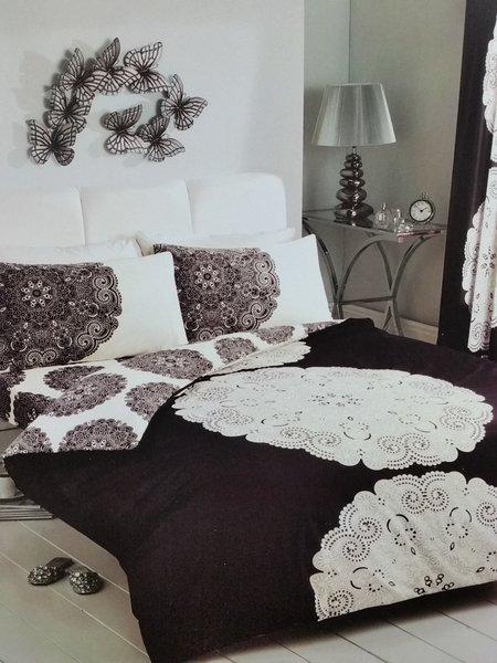 Manhatten black & cream duvet cover