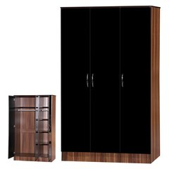 Alpha black gloss & walnut 3 door wardrobe