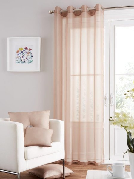 Swiss voile natural eyelet curtain panel
