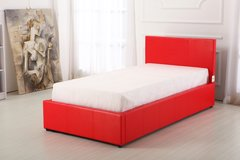 Boston red faux leather single ottoman storage bed