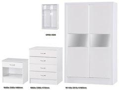 Alpha slider white gloss 3 piece bedroom furniture set