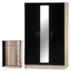 Alpha mirrored black gloss & san oak 3 door wardrobe
