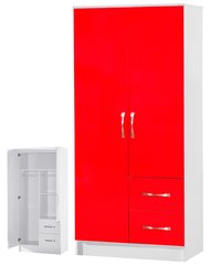Marina red gloss & ash white 2 door combi wardrobe