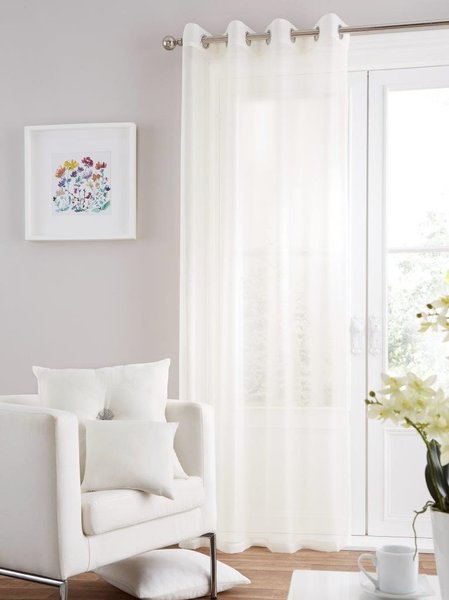 Swiss voile cream eyelet curtain panel