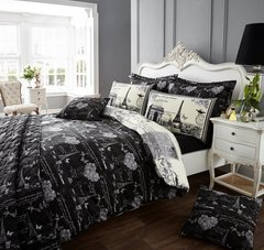 Sketchy Paris black duvet cover