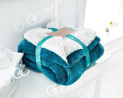 Flannel Sherpa fleece teal throw