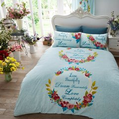 Live & Dream teal duvet cover