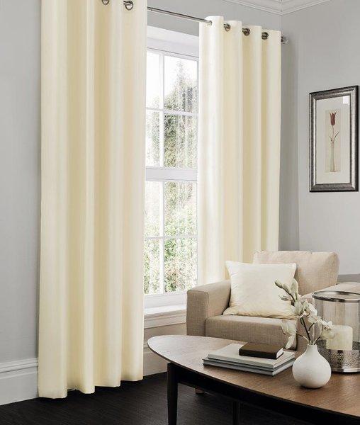 Faux silk cream eyelet curtains