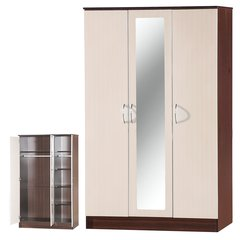 Alpha mirrored cream gloss & walnut 3 door wardrobe