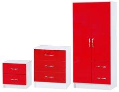 Marina red gloss & ash white 3 piece bedroom furniture set
