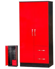 Marina red gloss & ash black 2 door combi wardrobe