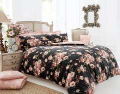 Vintage Rose Floral black duvet cover