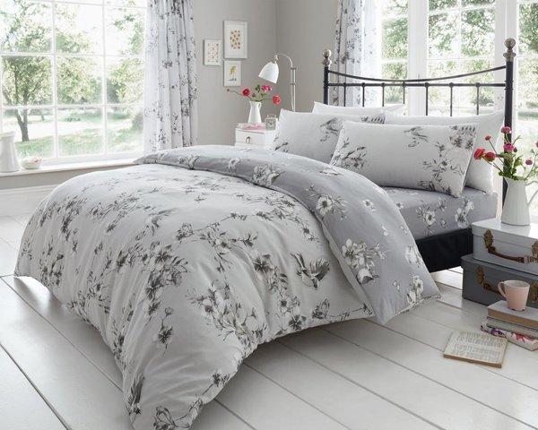 Birdie Blossom grey duvet cover