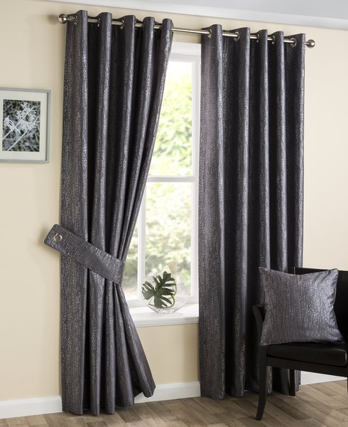 Silvana silver eyelet curtains