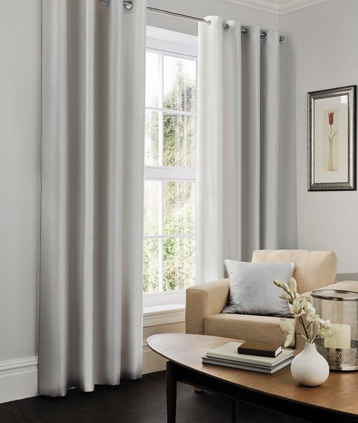 Faux silk silver eyelet curtains