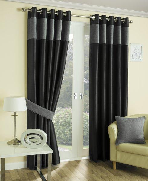 Hilton silver border eyelet curtains