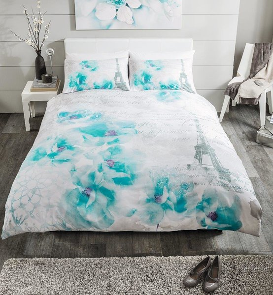 Tinted Dream teal duvet cover
