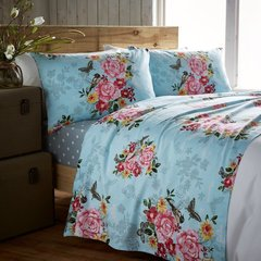 Marmorino teal flannelette sheet set