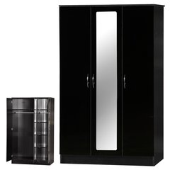 Alpha mirrored black gloss 3 door wardrobe