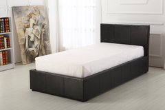Boston black faux leather ottoman storage bed