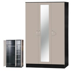 Alpha mirrored grey gloss & black 3 door wardrobe