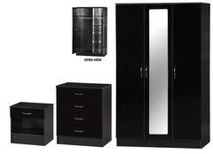 Alpha 3 door mirrored black gloss 3 piece bedroom furniture set