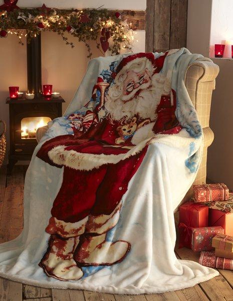 Father Christmas fleece throw / blanket