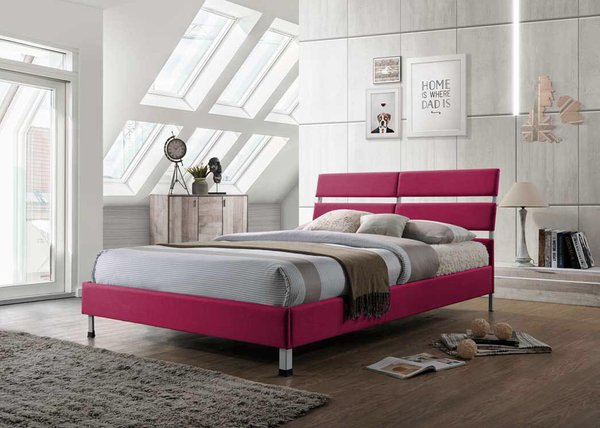 Eden pink single fabric bed