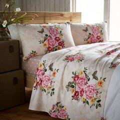 Marmorino pink flannelette sheet set
