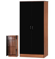 Alpha black gloss & walnut 2 door wardrobe