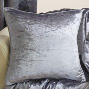Velva crushed velvet silver cushion cover